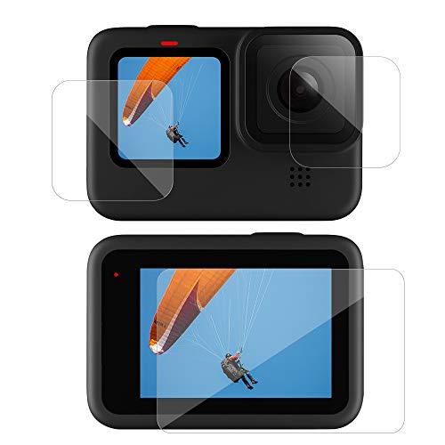 TELESIN Protettore Schermo per GoPro Hero 9, Vetro Temperato Migliorato Protettore Schermo Film+Vetro Temperato Film Lenti Accessori per GoPro Hero 9 Black(2 set)