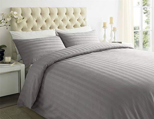 ES Bargains Duvet Cover 400TC Egyptian Cotton Stripe Duvet Quilt Cover With Pillowcase Bedding Set (Grey, Double)