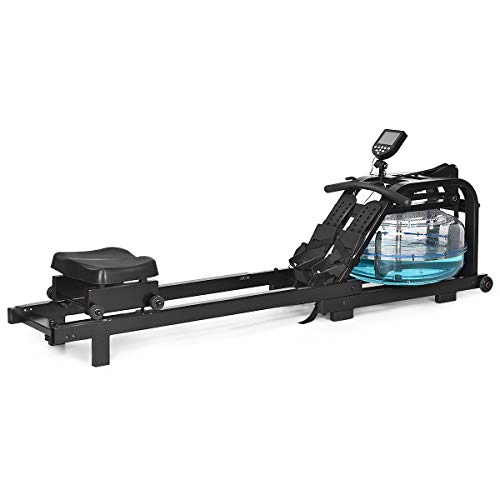 Read About GYMAX Water Rowing Machine, Water Rower with Adjustable Resistance & LCD Display, Easy-Tr...