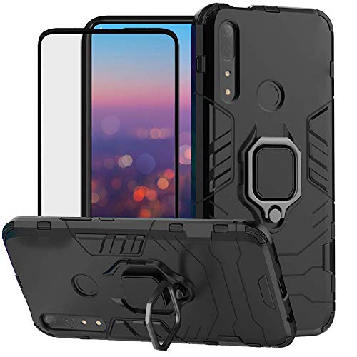 DuoLide for Huawei P Smart Z / Y9 Prime 2019 Case, 2 in 1 Hybrid Heavy Duty Armor Shockproof Defender Kickstand Dual Layer Bumper Hard Back Case Cover Tempered Glass Screen Protector,Black