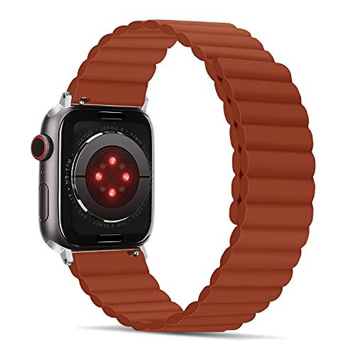 Tasikar Correas Compatible con Apple Watch Correa 40mm 38mm, Pulsera de Repuesto de Silicona con Fuerte Cierre Magnético [Usable Doble Cara] para iWatch Series 6 5 4 3 2 1 SE - (Rojo)