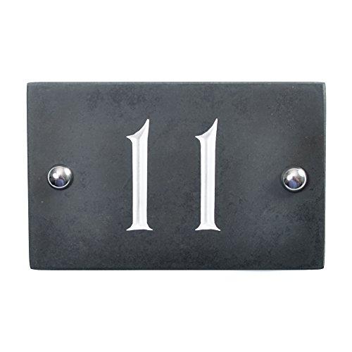 Número de casa de pizarra – la más alta calidad en Amazon – mismo día envío por 1st Class Post, Charcoal Grey (Black), 14 x 10 x 1cm