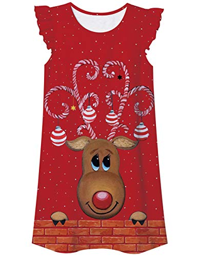 Image of Candy Cane Antlered Reindeer Nightgown for Girls