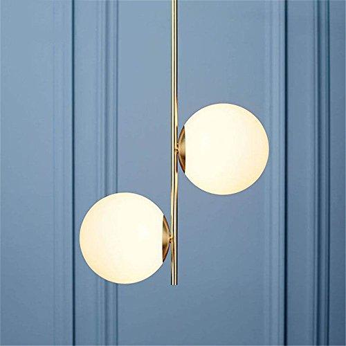 Moderne Blanc Boule En Verre Lumières Pendantes Lampe Miroir Double Tête Or Led Lampes Suspendues pour Salon Luminaires de Cuisine