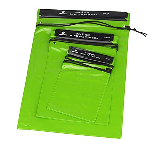 Waterproof Pouch Bags Case Phone Document Key Camera Holder PVC for Outdoor Travel Boating Fishing Green 3pcs