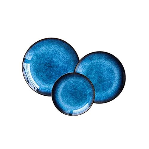 Vajilla de cerámica nórdica Cerámica Cerámica Cerámica Cerámica Azul Bandeja Vajilla Retro Steak Placa de Fruta Occidental Vajilla de alta gama (Color : A 3PCS)