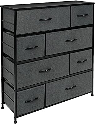 Sorbus Dresser with 8 Drawers - Furniture Storage Chest Tower Unit for Bedroom, Hallway, Closet, Office Organization - Steel Frame, Wood Top, Easy Pull Fabric Bins (8 Drawers, Black)