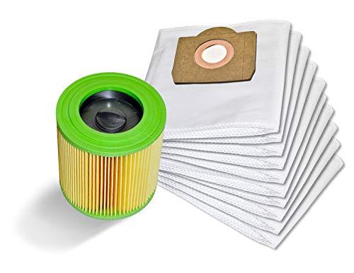 10 Staubsaugerbeutel + Patronenfilter kompatibel mit Kärcher 6.959-130.0 WD 3 MV 3