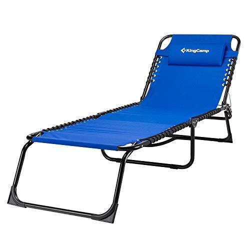 KingCamp 3 standen kantelbare stoel woonkamer patio – klapstoel, draagbaar, opvouwbaar, voor meubels buiten, tuin, zwembad, strand, camping, slapen, spa, met afneembaar kussen