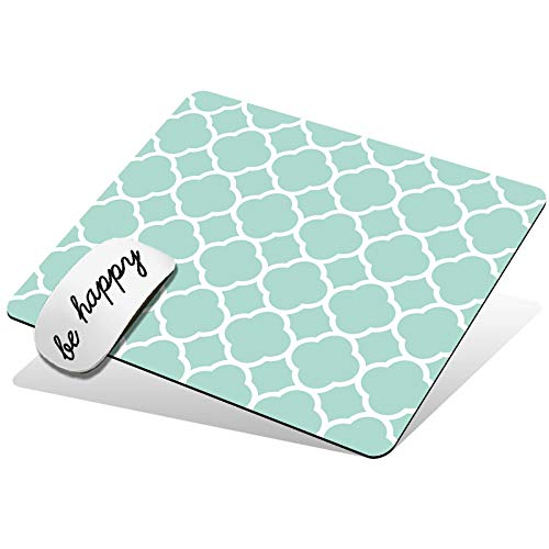 Mouse Pad Cute Custom Pattern Design Mouse Mat Non-Slip Rubber Base Gaming Mousepad for Wireless Mouse Laptop Computer Office Home, with Be Happy Stickers, Mint Green Quatrefoil