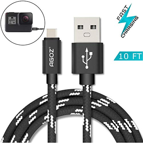 10FT Agoz Type C USB Fast Charger Data Cable Cord for GoPro Hero 9, Hero 8, Hero 7, MAX, Hero 6, Hero 5, Zeus Mini Light, Fusion, Karma Grip, Apple TV 4th Gen, Verizon Mifi 7730L Jetpack 4G Hotspot
