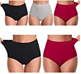 IRISES Womens Underwear,High Waisted C Section Cotton Panties,Full Coverage Ladies Panties Pack of 3 Size (40 Till 44) 4XL