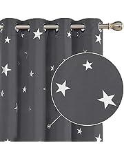 Deconovo Szare zasłony z nadrukiem w gwiazdki, izolacja termiczna, przelotki, zasłony zaciemniające do salonu 132 x 183 cm, 2 panele