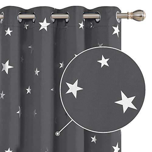 Deconovo Sterne Ösenvorhänge Blickdicht Vorhang Sonnenschutz Modern Gardine Küche 214x132 cm Dunkelgrau 2er Set