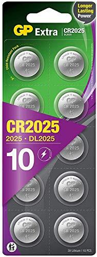 GP Batteries CR2025 3V - Pack de 10 Pilas CR2025 de Litio botón | Sin Mercurio | Pack Compuesto por 2 blísters de 5 Pilas CR 2025 envasadas Individualmente