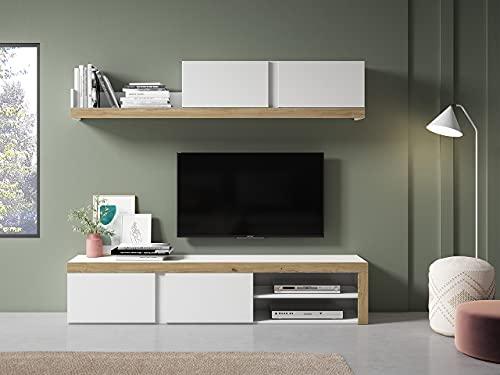 Fabrikit Mueble de salón Comedor Fly 2 módulos Color Blanco y Naturale...