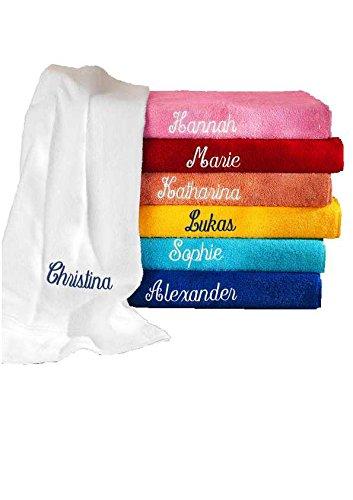 Handtuch PERSONALISIERT mit Namen viele Farben FIRE RED