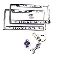 MT-Sports Store Football Team Car Licenses Plate Stainless Steel Frames & 4 Pcs Tire Valve Stem Caps (Baltimore Raven)