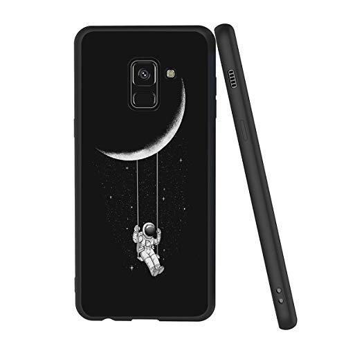 Yoedge Cover Samsung Galaxy A8 2018, Sottile Antiurto Custodia Nero Silicone TPU con Disegni Pattern Ultra Slim 360 Protective Bumper Case per Apple Samsung Galaxy A8 2018, Astronauta