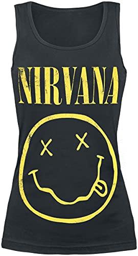 Nirvana Smiley Mujer Top Negro S, 100% algodón, Regular