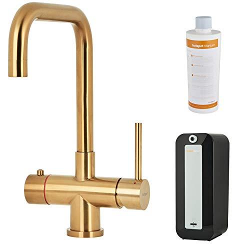 HotSpot Titanium Vitoria Gold - Grifo de agua hirviendo instantánea 3 en 1 con titanio de 8 litros de caldera y filtro de agua, grifo de agua caliente instantáneo con técnica de flujo suave