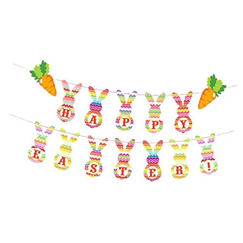 Feliz Pascua con Banner Conejo Lindo Feliz Pascua Decoración