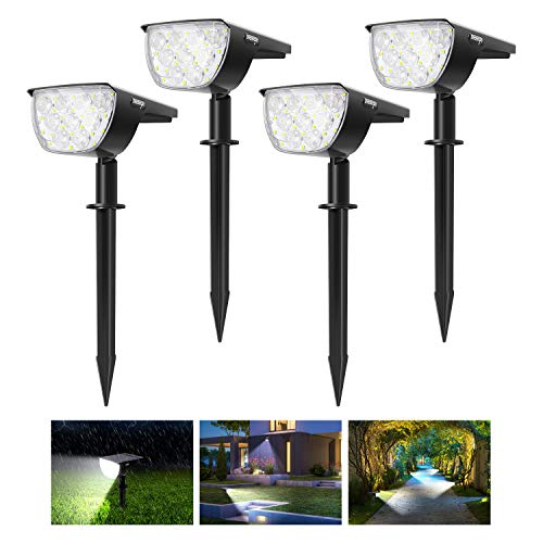 4 Pack 30 LED Innosinpo Luces Solares Jardín Suelo,Brillo Alto Impermeable IP67 Luz Solar Exterior Jardín con 180° Iluminación Ajustable Lamparas Solares Jardin Exterior para Césped,Carril,Patio