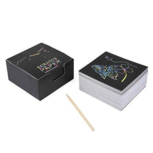 ewtshop® Kratzbild-Zettelwürfel Scratch-Paper, 100 Blatt mit Holz-Stift in praktischer Spenderbox