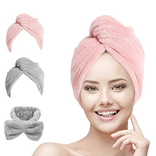 Hair Towel Wrap Turban Microfiber, Hair Drying Towels Quick Dry Hair Hat Drying Shower Head Towels Wrapped Bath Cap Anti Frizz Hair Care Dryer Towel for Women Girl Wet/Long/Curly/Thick Hair (3Pack)