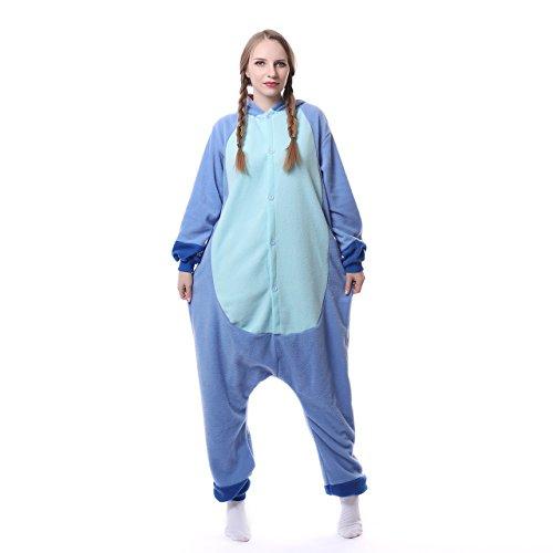 Blauer Pyjama für Erwachsene aus warmem Flanellstoff, Einteiler, Stitch-Design, Unisex Blue New Stitch - 2