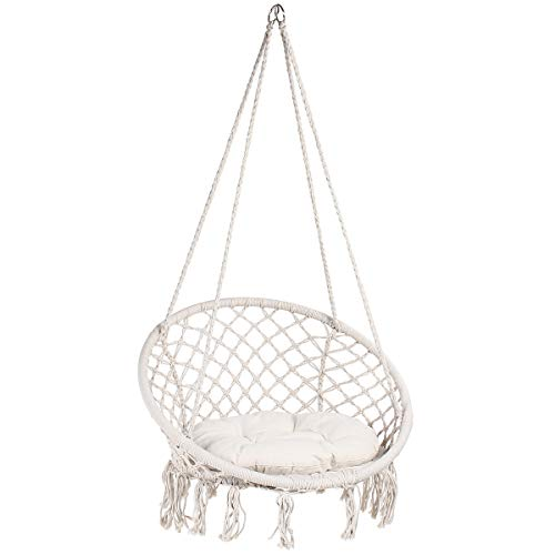 Display4top Beige Hammock Chair Macrame Swing,Hanging Cotton Rope Swing Chair,Comfortable Sturdy Hanging Chairs, With Round Seat Cushion for Indoor, Outdoor, Home, Patio, Yard, Garden