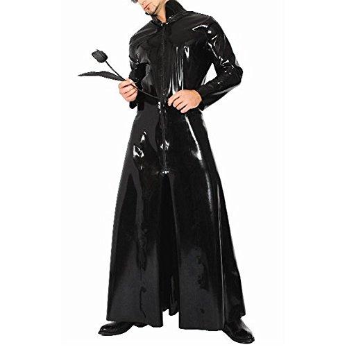 Umhänge Unisex Mantel Rolle Cape Roben Front Reißverschluss PVC Leder Stehkragen Cosplay Kostüm Cloak,XL