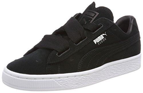 Puma Mädchen Suede Heart Jr 365135-02 Sneaker, Schwarz Black Black, 37 EU