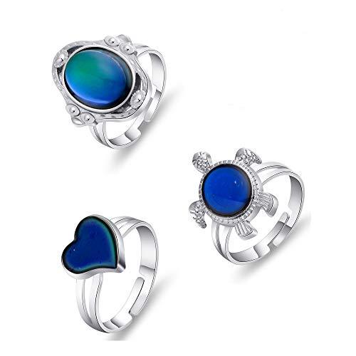 Thunaraz 3PCS Mood Ring Adjusable Size Color Changing Ring Set for Women