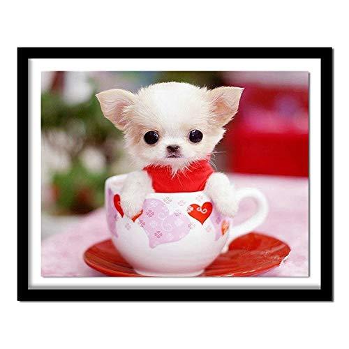 5D Diamant-Diamant-Stickerei Netter Hund in der Tasse DIY mbroidered Kreuz-Stich-Hauptdekoration-Geschenk Kreuzstich schön (Color : Round Diamond, Size : 45x35cm)