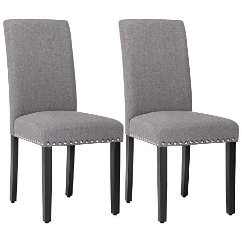 Dining Chairs Fabric Upholstered Padded Parsons Dining Room Chairs, Kitchen Living Room Chairs with Nailhead Trim Set of 2 (Grey)