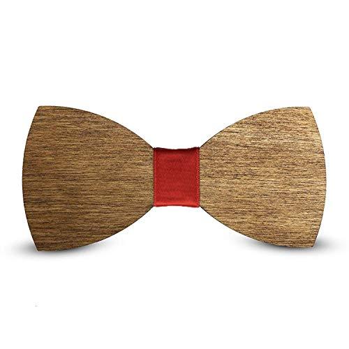 Laserò Holz Fliege | Klassische Smoking & Anzug Dekorationen für Party, Abschlussball und Hochzeit | Braune Fliege für Herrenmode und Kleidung | Handgefertigte italienische Fliege (rot)