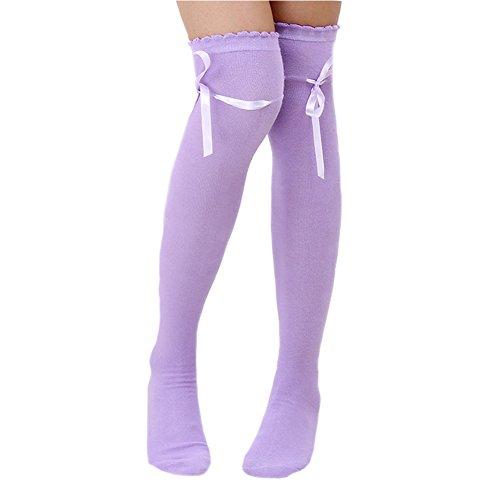 Pinksee Women's Thigh Stocking Long Knitted Boot Socks Bowknot Ribbon Over Knee Socks (Light Purple)