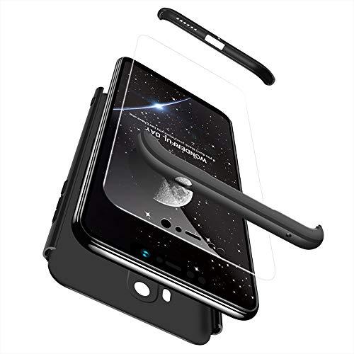 Ququcheng Xiaomi Pocophone F1 Hülle,Xiaomi Pocophone F1 Schutzhülle[Mit Bildschirmschutz] 3 in 1 Ultra dünn Hard Shell Case 360 Grad Schutz Tasche Etui Handyhülle Cover für Xiaomi Pocophone F1-Schwarz