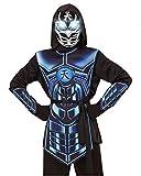Horror-Shop Cyber Ninja Kostüm mit leuchtender Augen Maske M / 8-10 Jahre
