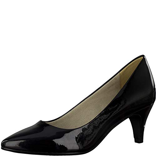 Tamaris Damen Pumps 22495-34, Frauen KlassischePumps, Frauen weibliche Ladies feminin elegant Women's Woman Abend,Black PATENT,39 EU / 5.5 UK