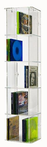 SORA Torretta espositiva Porta CD in Acrilico con Pannello Posteriore Trasparente