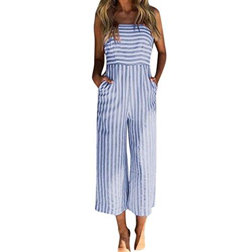 MRULIC Damen Striped Printing Sleeveless Lange Playsuits Strampler Overall(Blau,EU-34-36/CN-S)