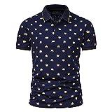 CFWL Camisa De Polo De Camiseta De Solapa De Manga Corta con Estampado En Caliente De Moda De Verano para Hombres Manga Corta con Cuello Redondo AlgodóN Camiseta Azul XL