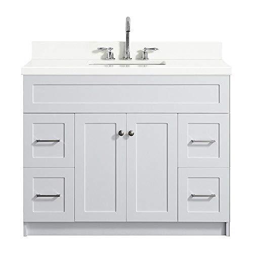 "ARIEL Hamlet F043S-WQ-VO-WHT 43"" Inch Single Rectangular Sink Bathroom Vanity Cabinet in White with White Quartz Countertop"