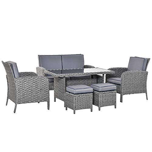 Outsunny 6 PCS Outdoor Patio Rattan Dining Table Sets All Weather PE Wicker Sofa Furniture Set for Backyard Garden w/Cushions Grey