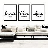 Triptico de Cuadros decoración salón o habitación moderno, impresos con frase motivadora'...