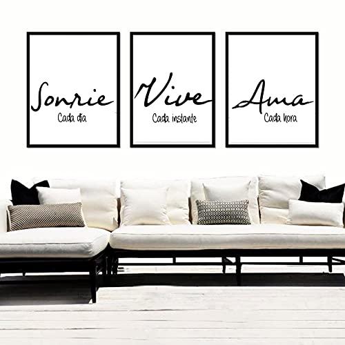 """Triptico de Cuadros decoración salón o habitación moderno, impresos con frase motivadora"""" Sonríe, Vive, Ama"""" Elige tamaño y color del marco. Hecho en España."""