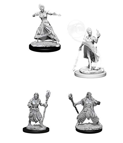Dungeons & Dragons Nolzur's Marvelous Unpainted Miniatures Bundle: Fire Genasi Female Wizard W5 + Water Genasi Male Druid W5