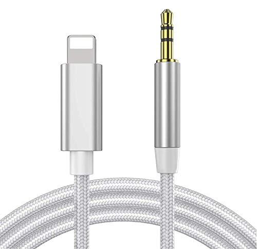 Cavo Aux per iPhone Adattatore Audio Ausiliaria da 3,5 mm Compatibile Con iPhone 7Plus/8/X/XS/XR/11/12, Autoradio, Altoparlanti, Cuffie e Tutto Il Sistema iOS - Argento